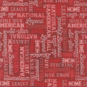 7th Inning Stretch - Words Allover Red Yardage