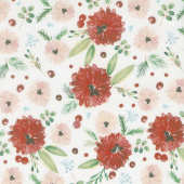 Winter Woods - Winter Floral in White Yardage
