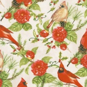 Christmas in the Wildwood - Flowers and Cardinals Tan Yardage