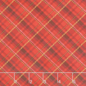 Winter's Grandeur 8 - Holiday Plaid Gold Red Metallic Yardage