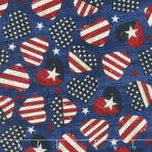Stars and Stripes - American Flag Hearts Navy Yardage
