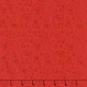 Beary Happy - Celebrating 50 Colorful Years with Brown Bear! Bear Doodle Red Yardage