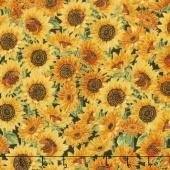 Giving Thanks - Sunflowers Black Metallic Yardage