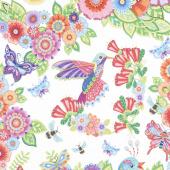 Rainbow Flight - Large Animals and Flowers White Yardage