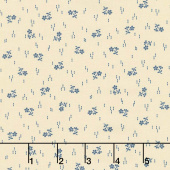 Mood in Blue - Sprig of Flowers Cream Yardage