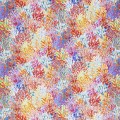 Calypso - Coral Blue Digitally Printed Yardage