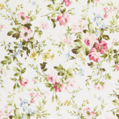Wild Rose - Delicate Floral Winter White Flannel Yardage