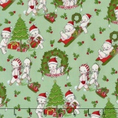 Kewpie Christmas - Christmas Main Green Yardage