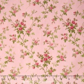 Poppies - Delicate Vine Soft Pink Yardage