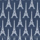 Love from Paris - Eiffel Tower Navy Yardage