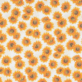 Autumn Beauties - Sunflowers Natural Metallic Yardage