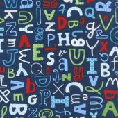 School Zone - Tossed Letters Blue Yardage