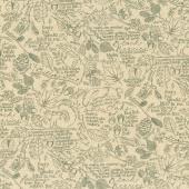 Oak Grove Lane - Journal Script Ivory Black Yardage