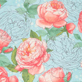Abby Rose - Cabbage Rose Seafoam Yardage