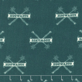 Wizarding World - Harry Potter Hogwarts & Wands in Teal Yardage