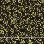 Novelty - Clef Black Yardage