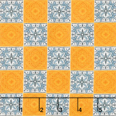 La Dolce Vita - Tiles Orange Blue Yardage