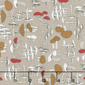 Woodland Pitter Patter - Mushrooms Medium Taupe Multi Yardage