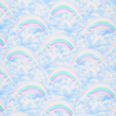 Novelty - Double Rainbows in the Sky Blue Yardage