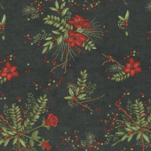 Winter Manor - Manor Floral Ebony Yardage