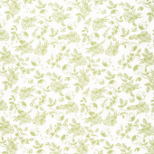 Gingham Gardens - Lined Floral Green Yardage
