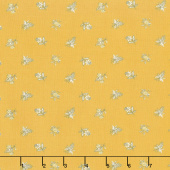 Eliza - Spaced Floral Brass Metallic Yardage