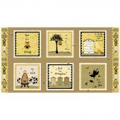 Bee a Keeper - Block Print Gold Black Panel