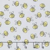 Little Sunshine - Bees Allover Gray Yardage