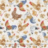Chicken Scratch - Tossed Chickens on Chicken Wire Ivory Yardage