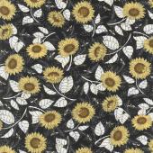 Bee Grateful - Sunflower Studies Ebony Yardage