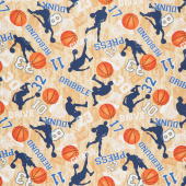 Novelty - Basketball Game Motifs Tan Yardage