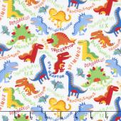 Dino Parade - Various Dinos White Yardage