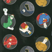 Justice League Activated - Justice Badges in Black Yardage