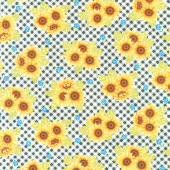 Sunny Sunflowers - Tossed Sunflower Gingham Multi Yardage