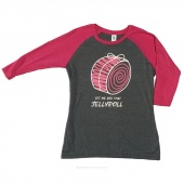 Let Me See That Jellyroll Large Women's Fitted Raglan 3/4 Sleeve T-Shirt - Fuchsia Frost/Gray Frost