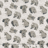 Woodland Pitter Patter - Racoon Toss Medium Taupe Multi Yardage