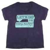 Let's Go to the Sewing Machine Ladies Scoop Neck Curvy Navy T-Shirt - Size 14-16