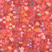 Loose Leaf - Leaves Currant Digitally Printed Yardage