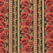 Gilded Blooms - Stripes Black Metallic Yardage