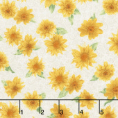 Gardenside Path - Tossed Sunflower Ivory Yardage