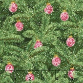 Merry, Berry, and Bright - Brilliant Baubles Radiant Evergreen Metallic Yardage
