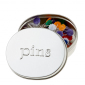 "Flower Head Pins in ""pins"" tin - Assorted Colors - 2"" 100ct"