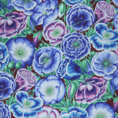 Kaffe Fassett Collective Spring 2018 - Dark Poppy Garden Blue  Yardage