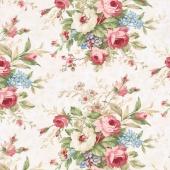 Vintage Rose - Floral Bouquet Cream Yardage