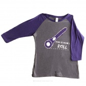 This is How I Roll Small Women's Fitted Raglan 3/4 Sleeve T-Shirt - Purple Frost/Grey Frost