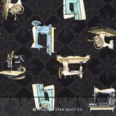 Cute as a Button - Sewing Machines Black Yardage