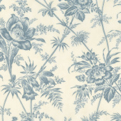 Holly Woods - Floral Toile Snow Sky Yardage