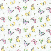 Scented Garden - Tossed Butterflies Pale Gray Digitally Printed Yardage