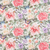Botanica - Feature Floral White Multi Digitally Printed Yardage