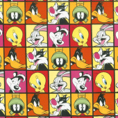 Looney Tunes - Characters in Blocks Ruby Yardage